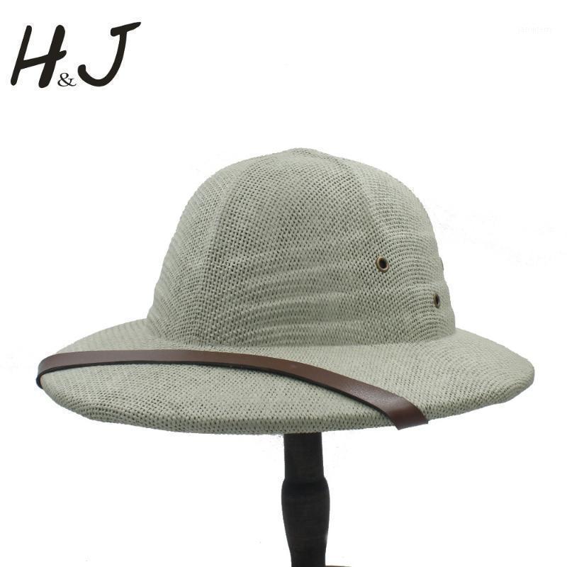 Geniş Ağız Şapkalar Yenilik Saman Kask Pith Fedora Kadın Erkek Vietnam Savaş Ordusu Güneş Şapka Baba Boater Kova Safari Orman Madenciler Cap1
