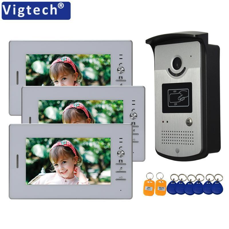 """VIGTECH 7 """"Color de video con cable de video Inicio Intercom Monitor Monitor Intercom Sistema de Teléfono RFID CardReader IR Visión nocturna Impermeable"""