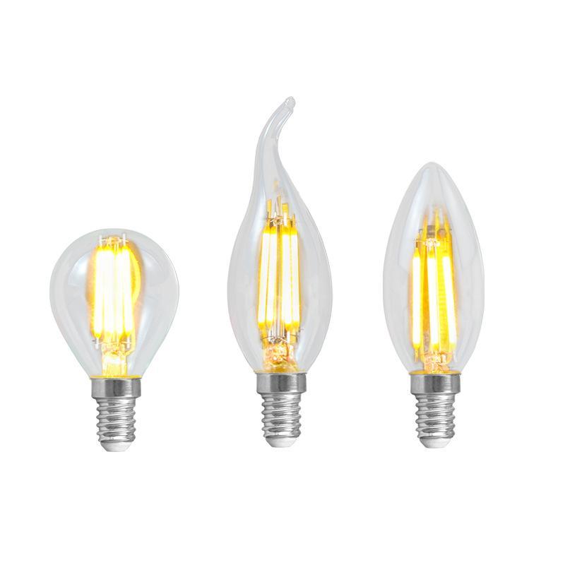 LED Filamento Bulbo Inicio Iluminación Retro E14 Tornillo Pequeño Terreno Bombilla Filamento de tungsteno Cálido Amarillo Cristal Vela Bombilla 6 / PCS