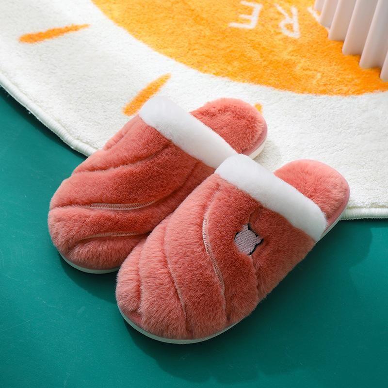 Hot Sale-Women Indoor Slippers Warm Plush Lovers Home Cotton Slipper Anti Slip Soft Bottom Winter Shoes Woman Men House Floor Slides
