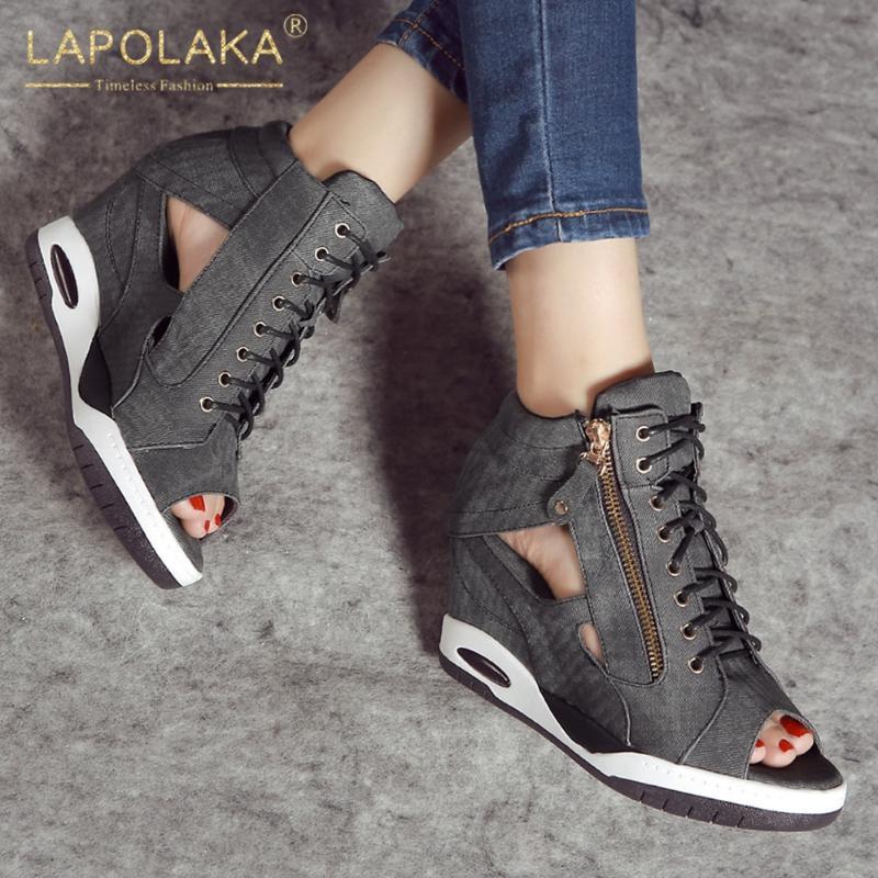 Lapolaka en venta Tacones de ocio Tacones Altos Calidad Botas de verano Shoeles Denim Zapatos de mujer Mujer Sandalia Mujer