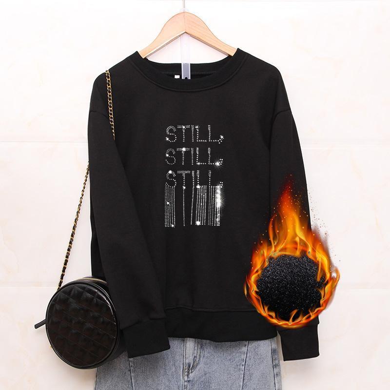 Sweat-shirt à col rond Femme 2021 Nouvelle molleton d'hiver Épaississement Coréen lâche Plus Taille 6XL Tops Diamant chaud Gardez des pulls chauds