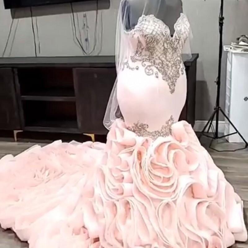 Blush Pink Sirena Vestidos de novia 2021sweetheart Beads Apliques Plus Tamaño Vestido de lujo de la boda para los vestidos nupciales de Novia
