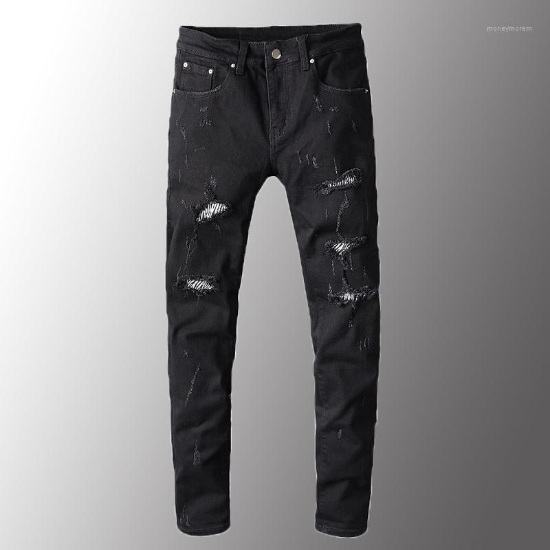 Minglu männer jeans luxus männer zebra druck kristall schwarz zerrissene jeans schlanke dünne löcher zerstörte strecker denim pants plus size1