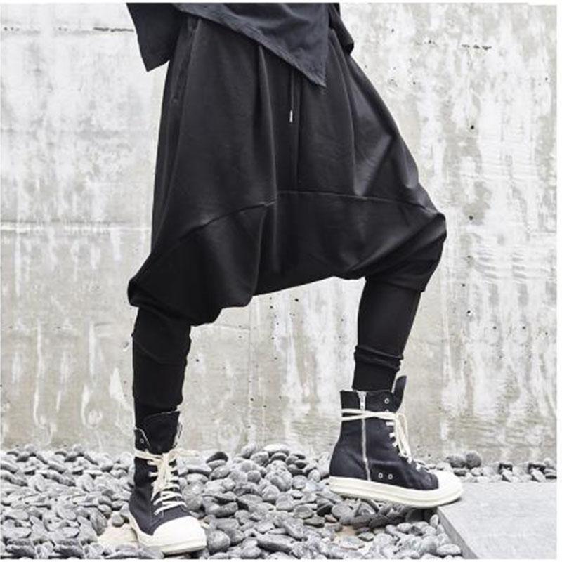 Pantaloni da uomo Primavera e autunno stile basso cavallo croce casual da uomo allentato piccolo piede hip hop yamamoto danza