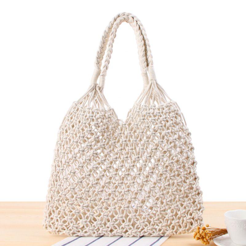 Wirkliche Frauen Handtaschen Gewebte Taschen Strandtaschen Große Einkaufstaschen Seilböhmie für Sommerreisen 2020 Hohlwolle Für Damen