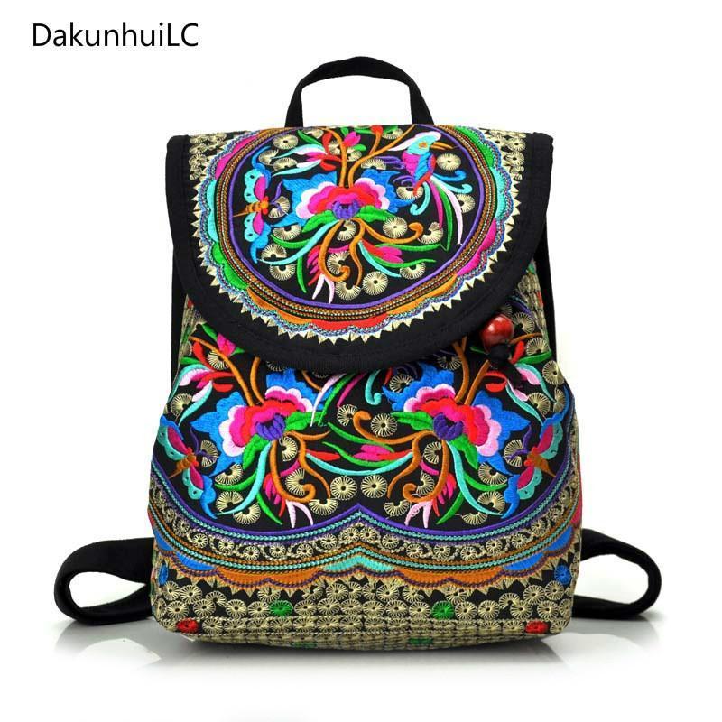 Рюкзак стиль национальные старинные женщины вышивка этнические этнические ручной работы цветок путешествия на плечо сумка мочела большая маленькая