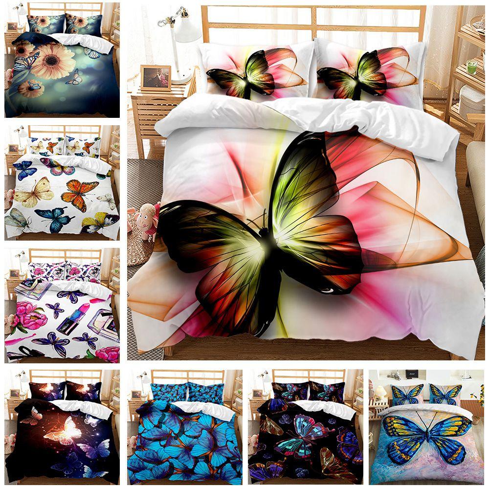 فراشة سلسلة الفراش مجموعات أنيقة الملك الملكة حجم لحاف غطاء وسادة حالة حاف السرير 3d الطباعة الرقمية غطاء لحاف كيت