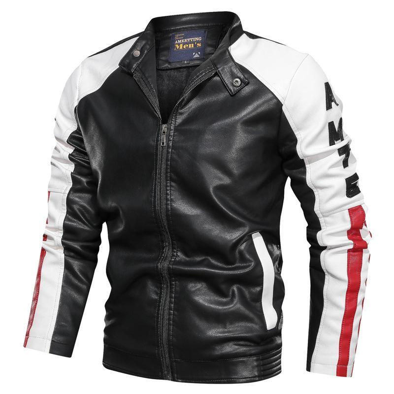 Erkek Kürk Faux 2021 PU Deri Motosiklet Ceketler Erkekler Slim Fit Rahat Dış Giyim Bombacı Ceket Winderbreaker Erkek Ceket HX061