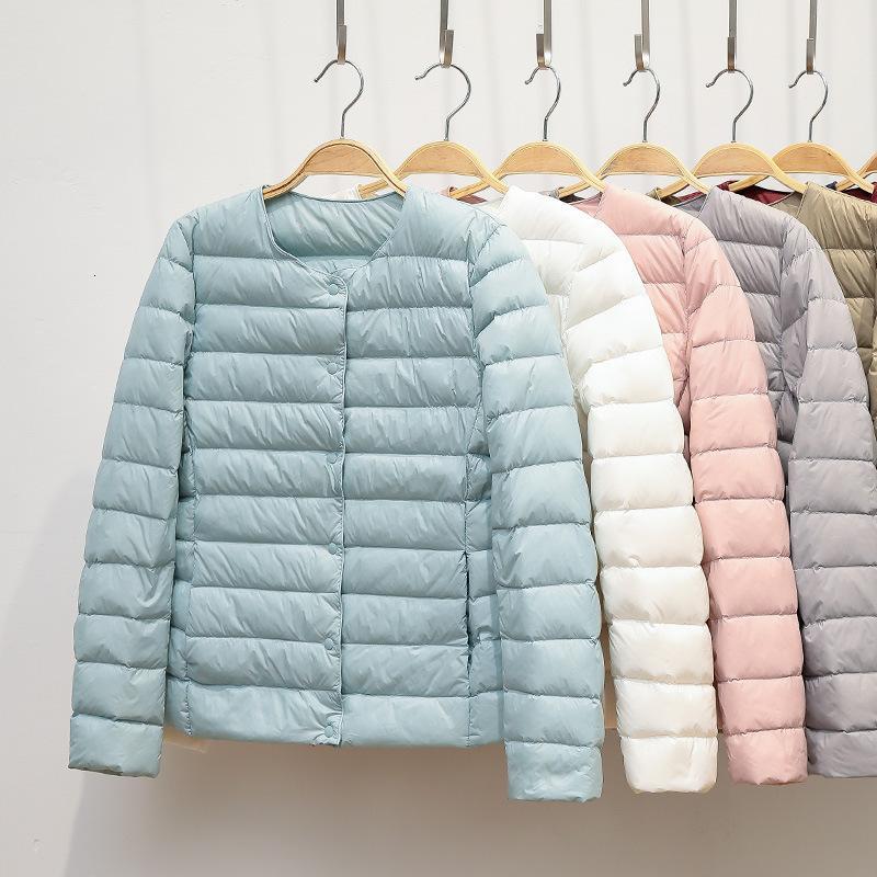 Jacket 2020 New Winter Women Coat Ultralight Collarless Duck Down Portable Female Padded Parkas O-Neck Puffer Overcoat I1GJ