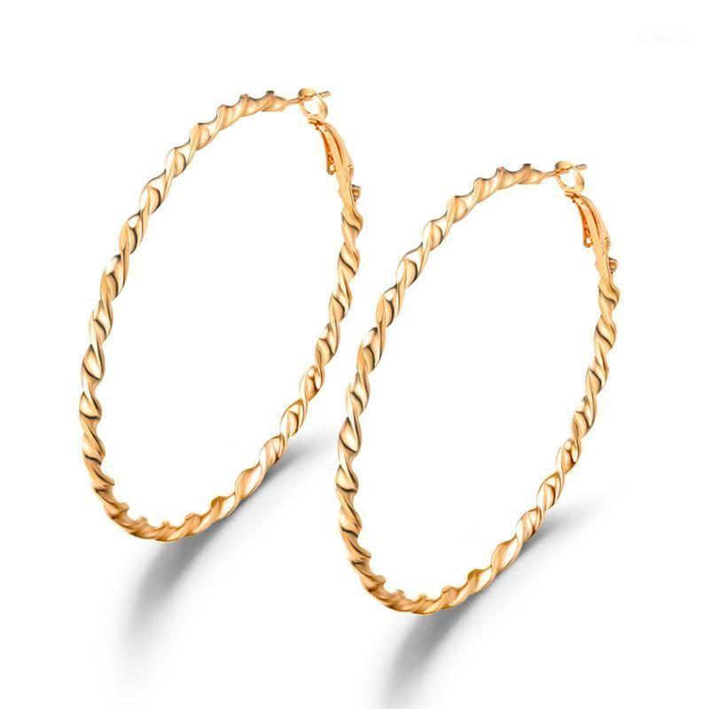 Punk Twisted Circle Creas Ohrringe Gold / Silber Farbe Welle Muster Ohrschiene Für Frauen Creole Boucle d'Oreille Weibliche Party Bijoux1