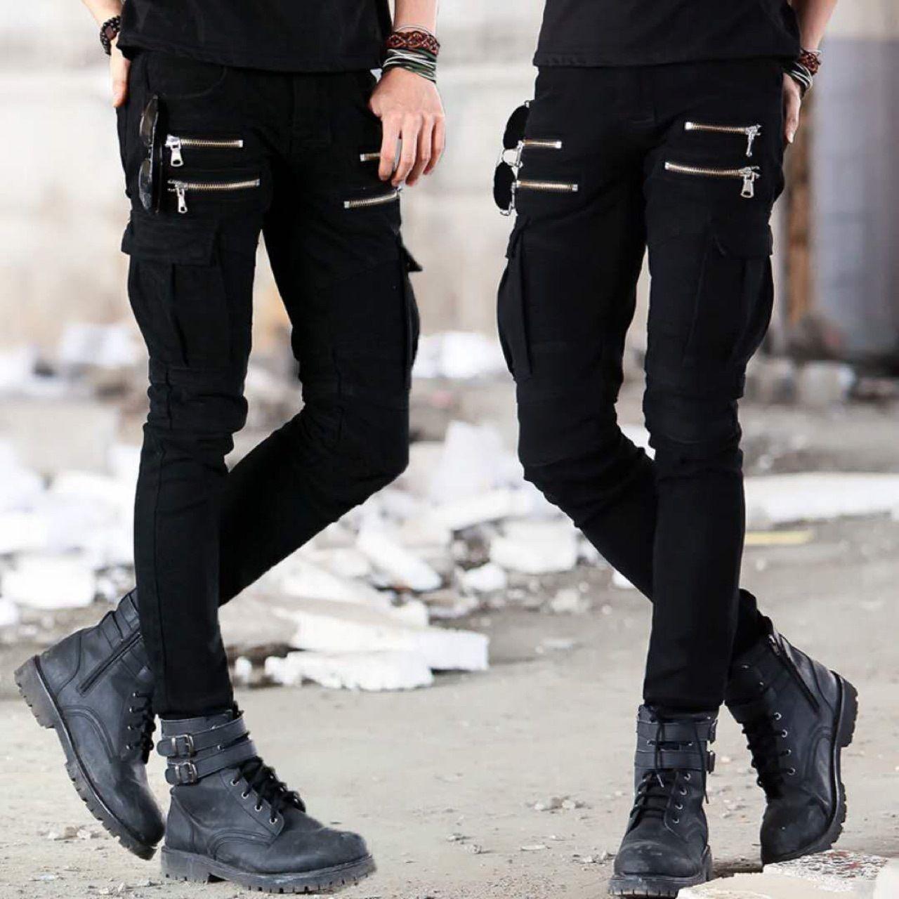 Motosiklet Denim Pantolon erkek Siyah Kot Moda Streç Fermuar Skinny Jeans Pileli Moto Biker Erkekler Ince Pantolon Sıcak Satış Q0105