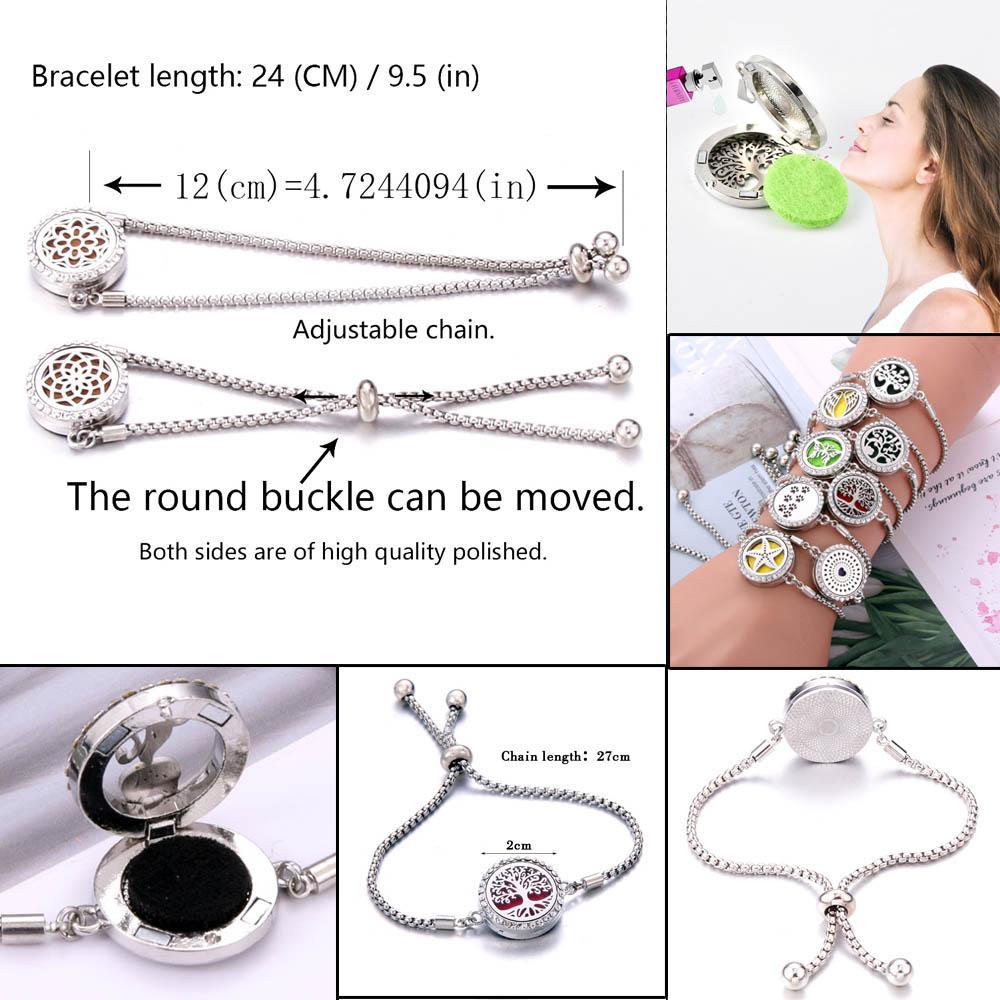 2020 New Aromatherapy Bracelet Diffuser Jewelry Adjustable Chain Crystal Rhinestone Tree Of Life Aroma Perfume Locket Bracelet