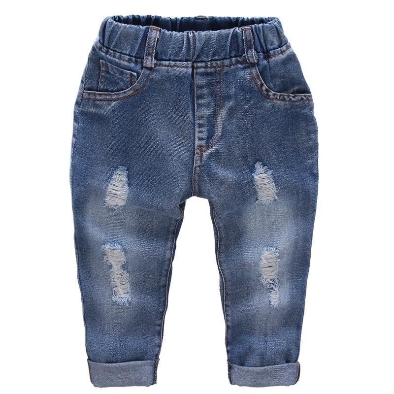 Разорвал джинсы девушка дыра девочка джинсы случайные джинсы детские дети сплошной цвет детская одежда 201204
