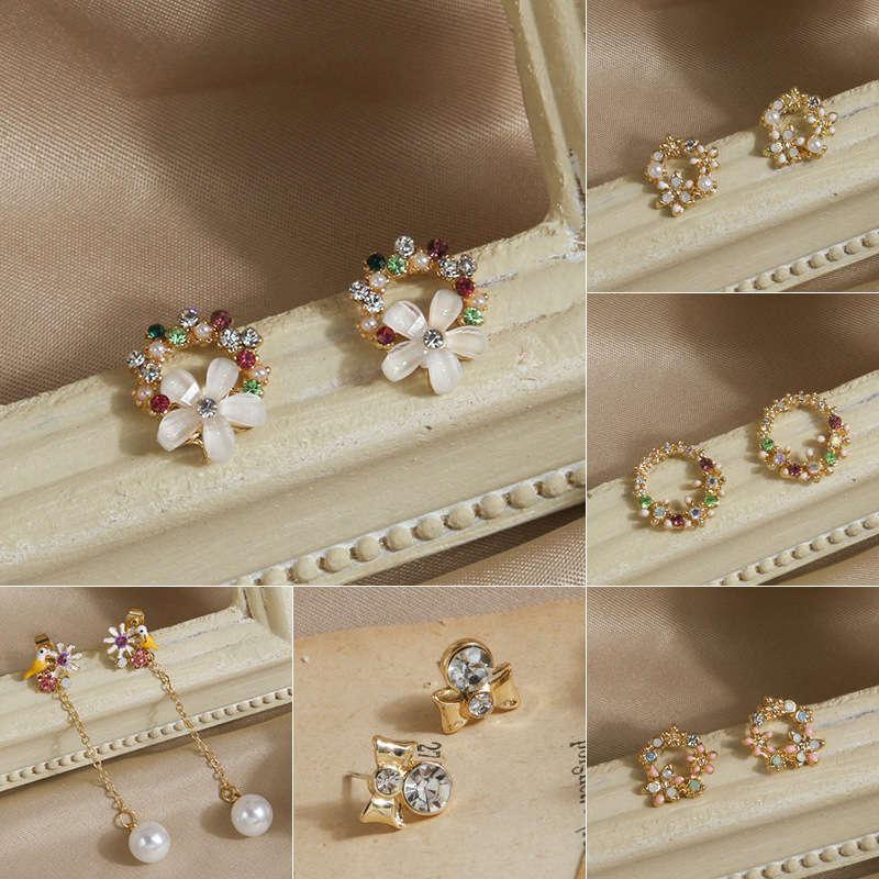 Qingdao jóias estilo coreano flor elegante s925 agulha de prata personalizada brincos de natal