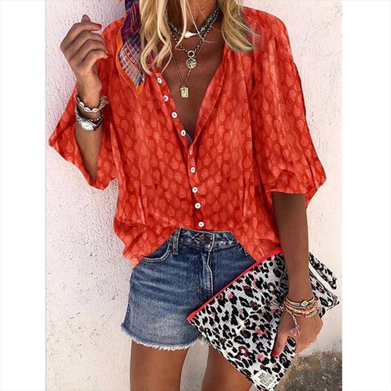 Kadın V Boyun Gömlek Baskı Kravat Boya Gevşek Rahat Tops Yaz Uzun Kollu Streetwear Yüksek Kaliteli Giyim Vintage Moda