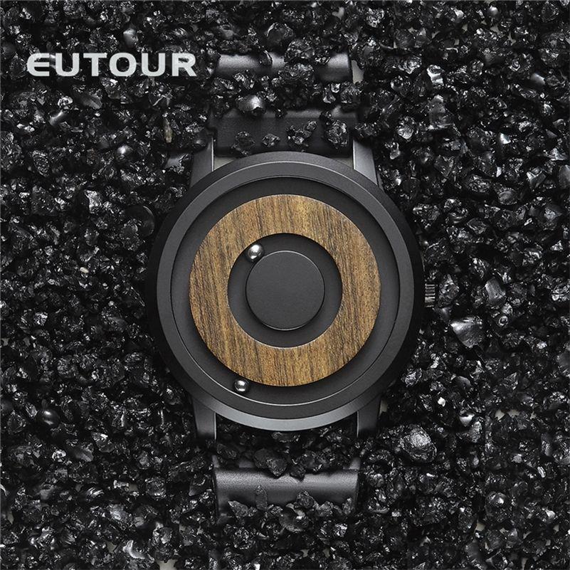Eutour Minimaliste Novelty Wood Cadran de Wood Magnétic Watch Ceinture Forêt Naturel Forest Mode Couple Montre 201208