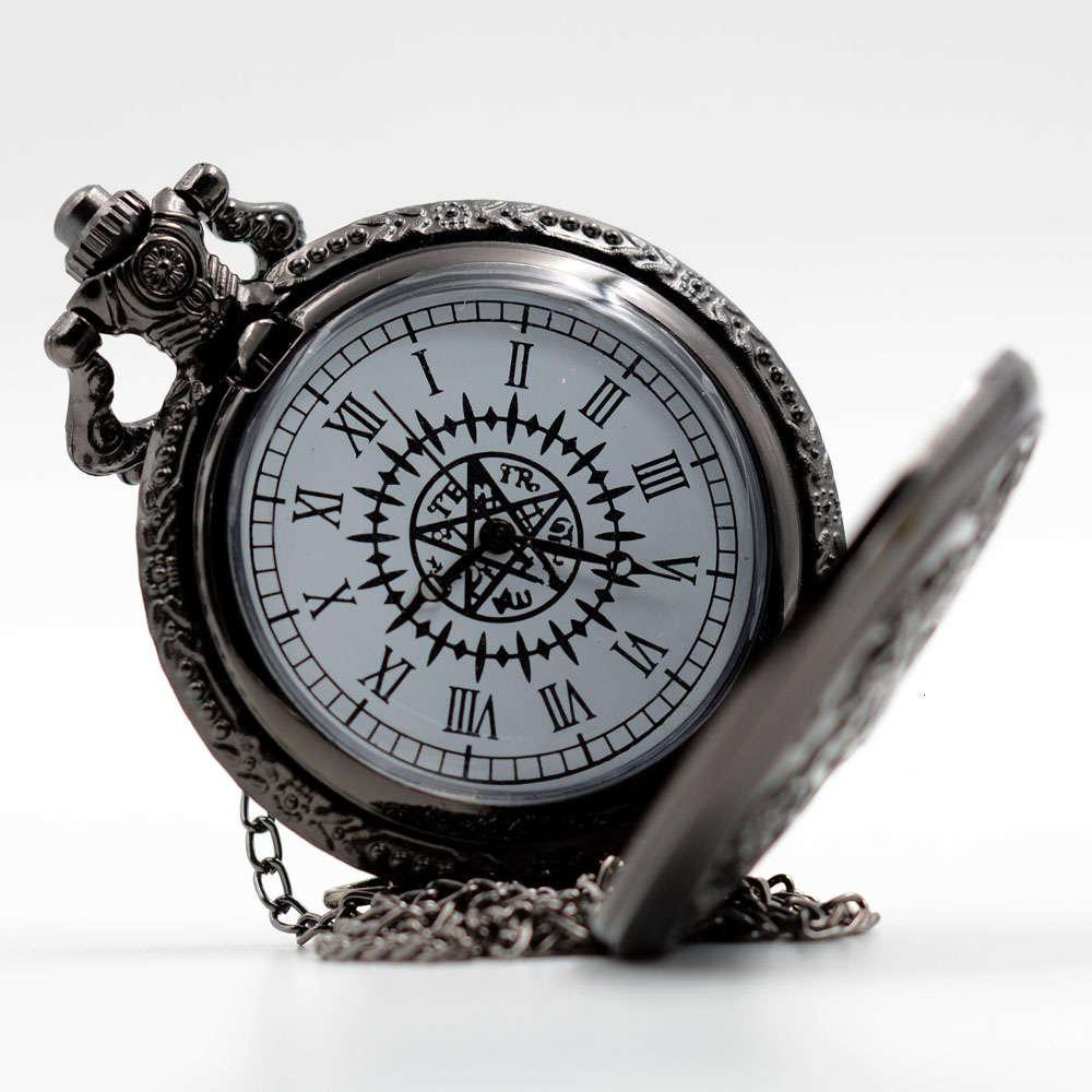 Nova Moda Kuroshitsuji Black Butler Quartz Bolso Relógio Analógico Pingente Colar Homens Mulheres Relógios Presente