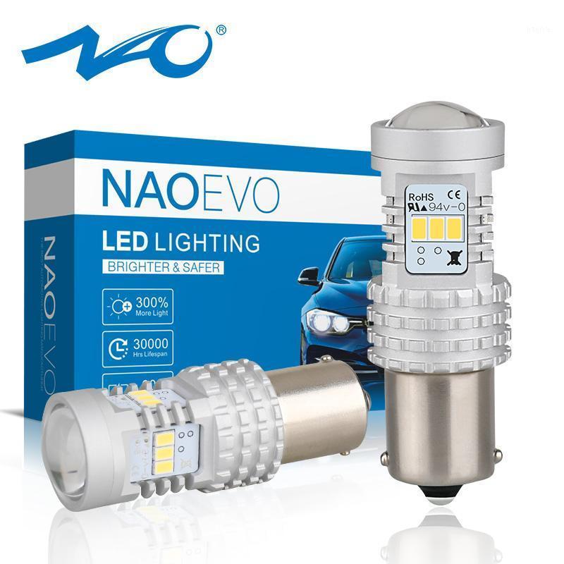 NAO P21W 1156 LED BA15S LED luci per auto 6W Amber Turn retromissione della coda bianca DRL 12V 1400LM SMD 3020 Chips Super Bright1
