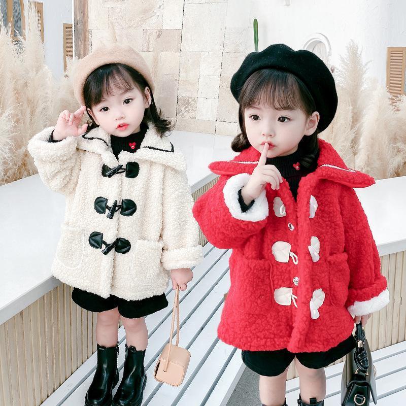 أزياء الطفل الفتيات الشتاء الخريف الدافئة سترة معطف الفرو سميكة طويلة الأكمام البيج الأحمر زائد المخملية الرسمية لينة حزب الاطفال معطف ou
