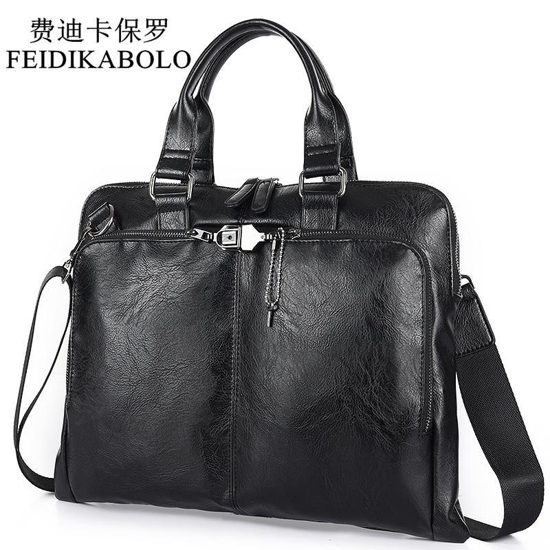 HBP BOLO Business Briefcase Leather Men Computer Laptop Handbag Man Shoulder Bag Messenger Men's Travel Bags Black Brown Q0112
