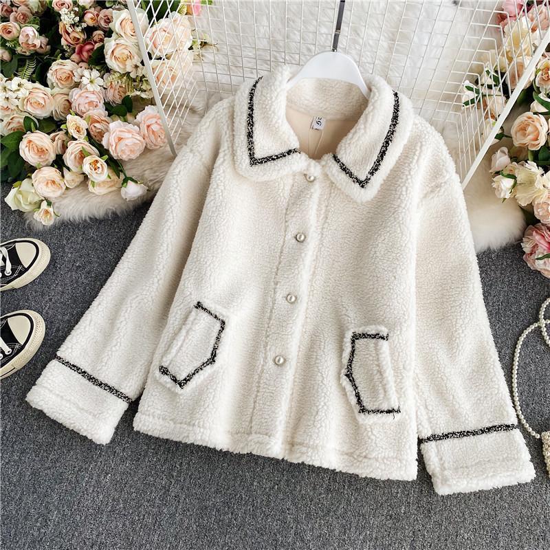 Women's Jackets Beige Coat Autumn Winter Turn-Down Collar Long Sleeve Lamb Wool Jacket Elegant Korean Style Single Breasted 2021