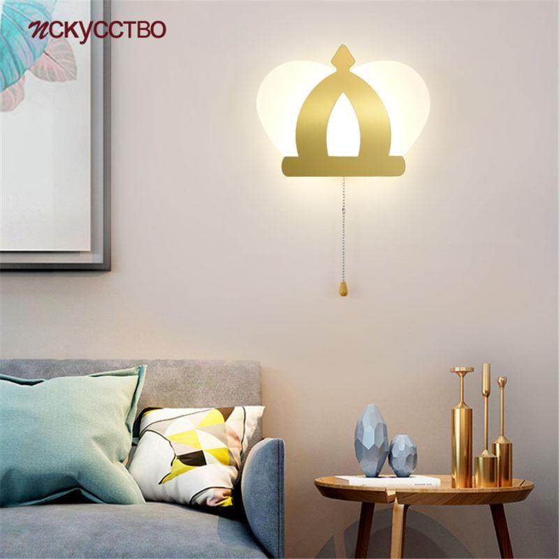 Nordic king chapéu ouro acrílico lâmpada de parede conduzida com interruptor puxar kids kidside noite noite luzes interior decoração corredor luminária