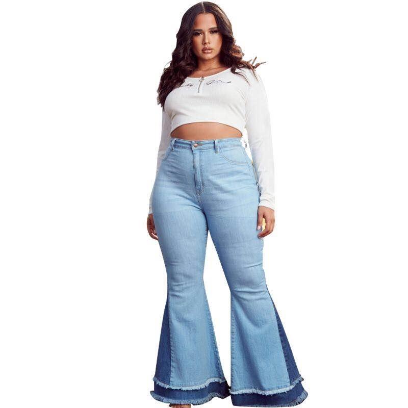 Плюс размер 5xL вспышенные джинсы женские высокие талии брюки пятно простирающиеся стремленные джинсовые колокол Нижние брюки оптом Dropshpping