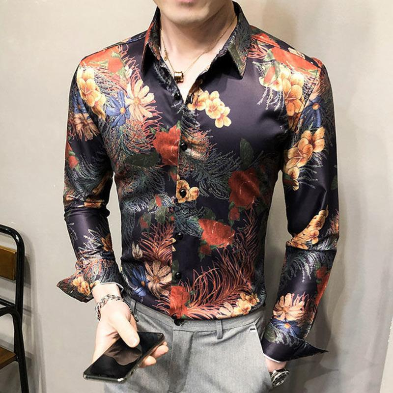 Imprimé d'or luxe Homme Chemise Casual Slim Fit Manches Longues Manches Homme Robe Chemises Club Club Tuxedo Shirt Camisa Social Masculina
