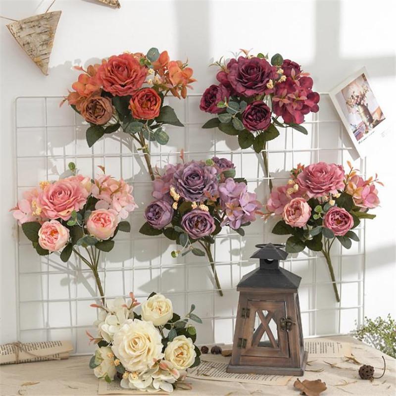 """Gefälschte Pfingstrose Hortensie (6 Stiele / Bündel) 11.42 """"Länge Simulation öl pting Rose für Hochzeitshausdekorative künstliche Blumen"""