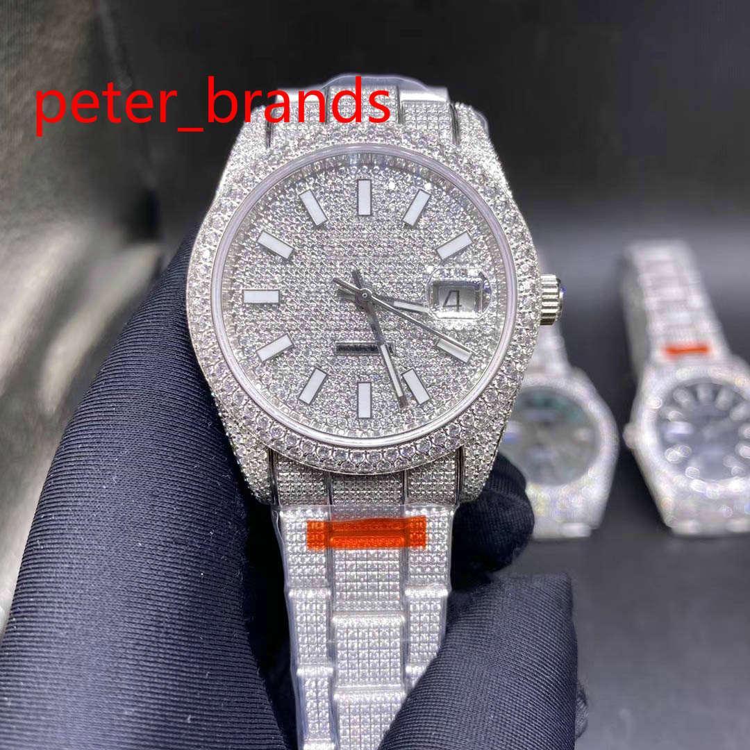 Diamante Aço Inoxidável 39mm Caso Brilhante Automático Todos Brancos Lisos Sweating Hands Diamantes Todos em Fivela Resistente à Água Alta Qualidade
