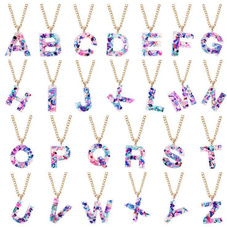 26 letters Pendant Necklaces Charm Multicolor English alphabet Necklace Women Fashion Clavicle Chain Necklace Jewelry Gift