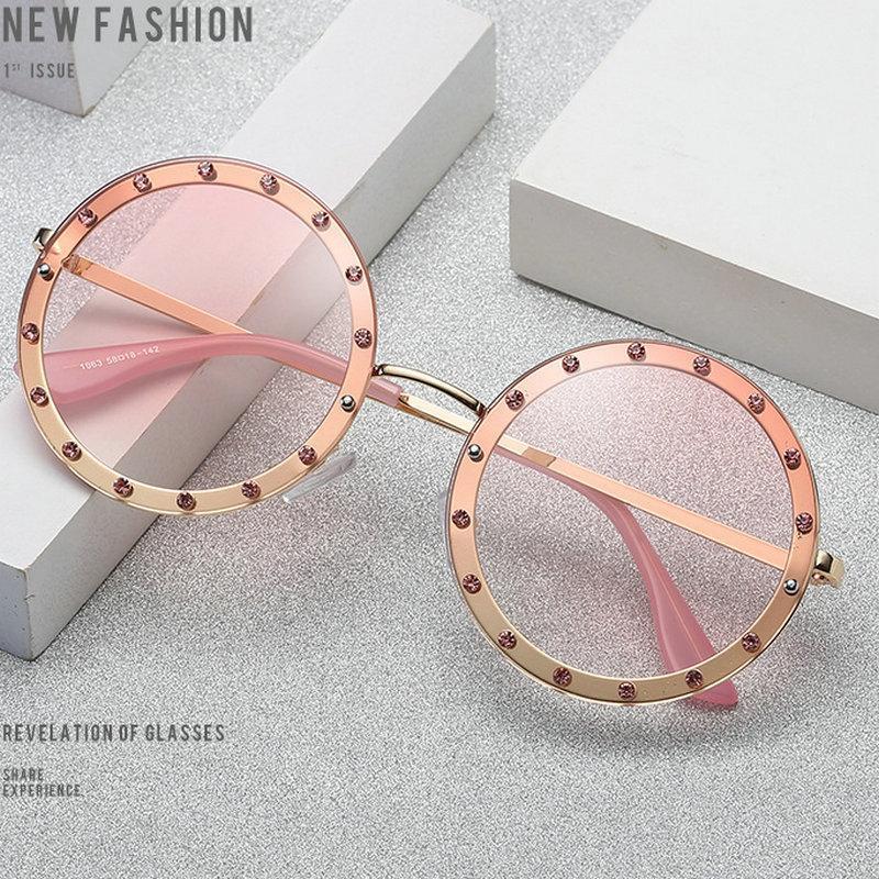 Rote Linse Retro Frauen Hot Metall Sonnenbrille Für Damen Frameless 2020 Rahmen Big Bling Rosa Gläser Diamant Gelb Sun Runde FML Hruwn