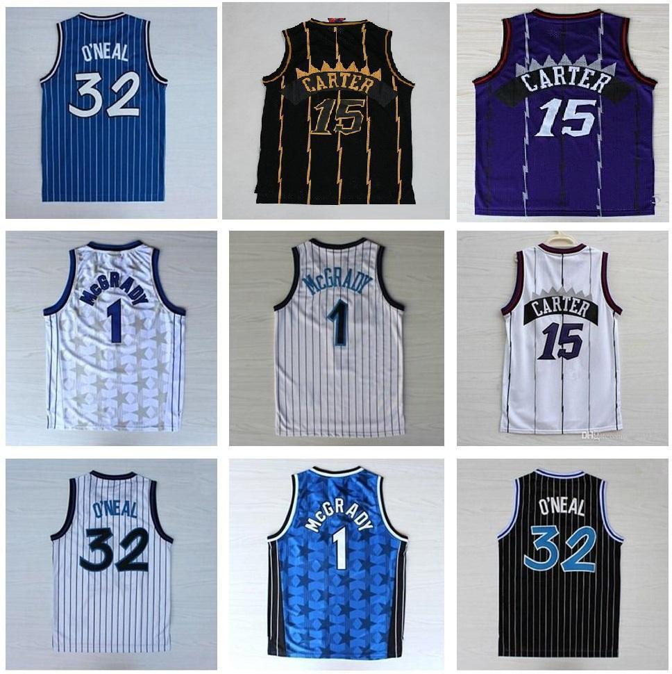 High-Quality 32 O'Neal Jersey Penny 15 Carter Jerseys Tracy 1 McGrady Jerseys Shirts Mens Vince 1 Hardaway Shirt Basketbal