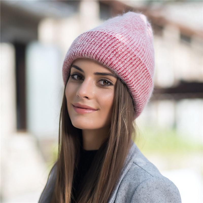 2020 inverno signore beanie cappello moda moda calda skullies brim senza fili tinta unita semplice femmina casual cofano cappuccio Cap1