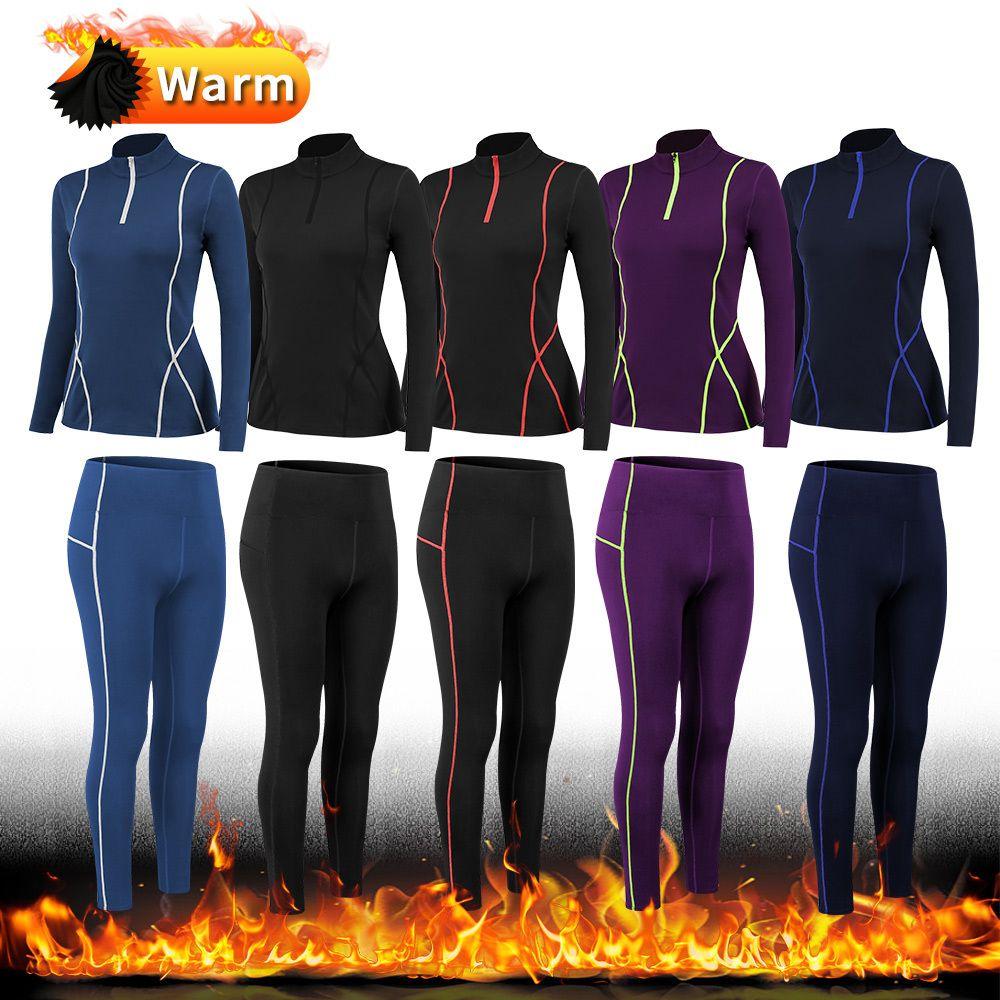 Wolle hinzufügen 15% Spandex Pocket Hohe Taille Legging Fitness Shirt Yoga Set Frauen Trainingsanzug Running Sportswear Training Sport Anzug Y1123