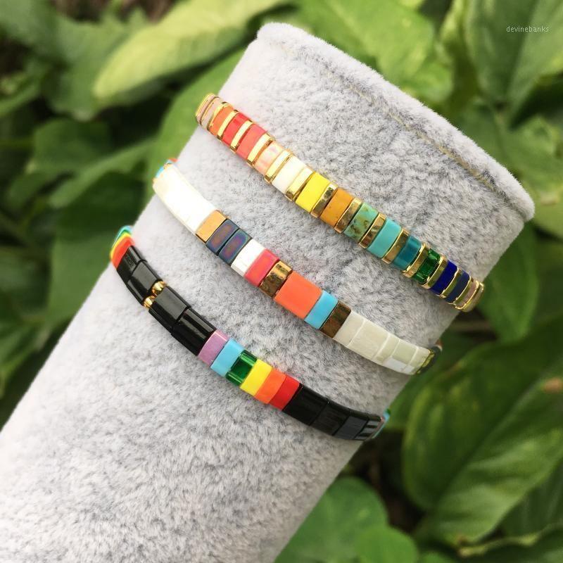 Bracelet couleur émaillé, bracelet de perle de carrelage coloré ténu, bracelet en émail fait à la main Bijoux en métal Présent1