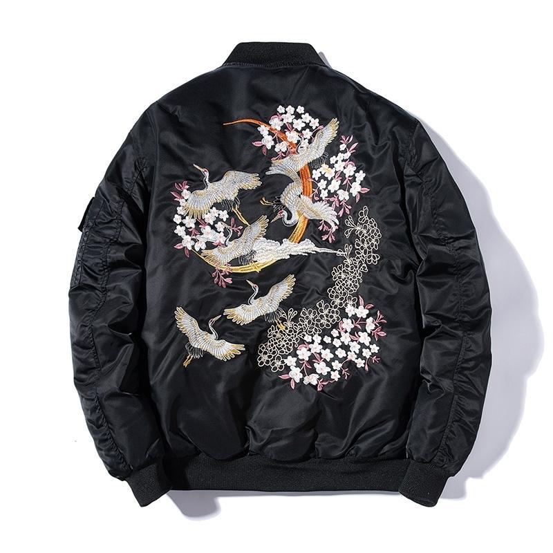 Bordados Bomber Jacket homens magros Pássaro Floral Pilot Jacket Masculino Japão Harajuku Baseball Jacket Primavera Outono Streetwear 201119