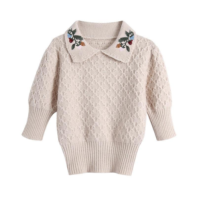 BLSQR Fashion Vintage Floral Embroidery Knitted Sweater Vintage Lapel Half Sleeve Female Pullovers Chic Short Tops