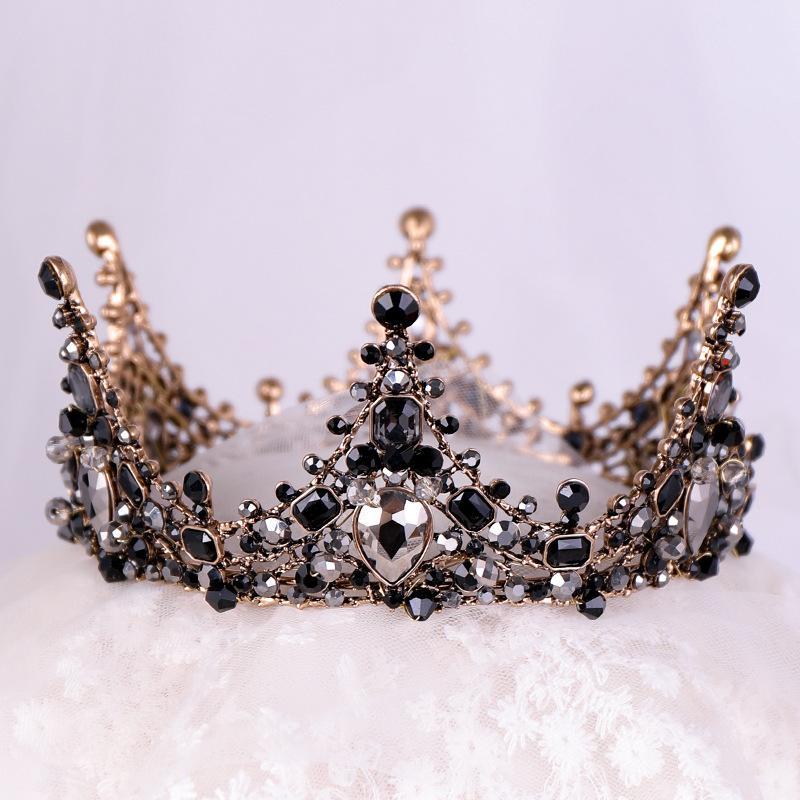 Yeni Siyah Prenses Şapkalar Chic Gelin Tiaras Aksesuarları Çarpıcı Kristaller İnciler Düğün Tiaras ve Kronlar 12102