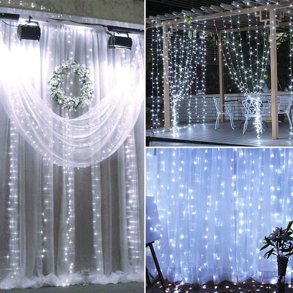 Yeni 18 M X 3 M 1800-LED Sıcak Beyaz Işık Romantik Noel Düğün Açık Dekorasyon Perde Dize Işık ABD Standart Beyaz ZA000939