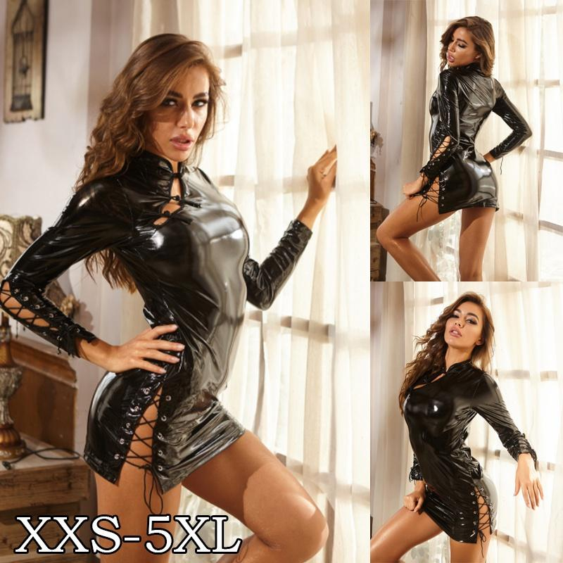 Women Sexy Hollow Out Summer Clubwear Outfits Party Black Faux Leather Short Sleeve Bodycon Mini Dresses Cosplay