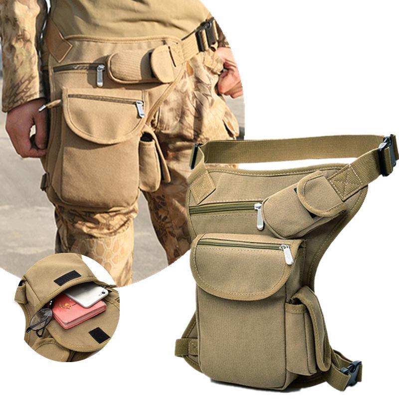 Bolso de la pierna de la pierna de la lona de los hombres bolsa de la cintura de la cintura de la cinta de la cinturón de la cinturón de la cadera VIAJE VIAJE MOTOR MOTORYCLE