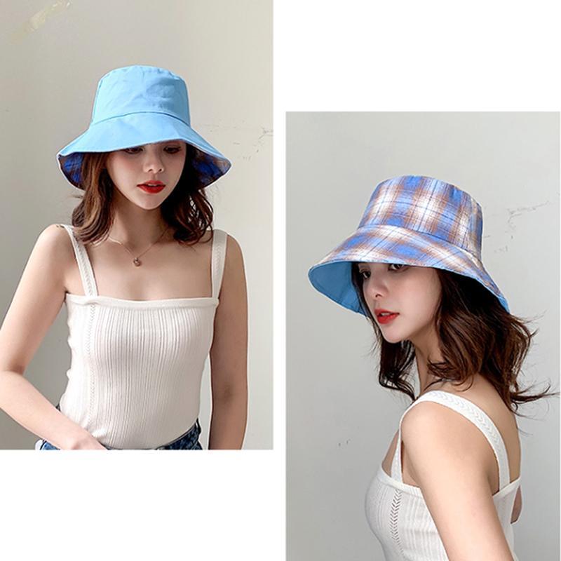 Femmes Outdoor Travel Hat Sun Cap Chapeaux Coréen Version Coton Double face à Plaid Bucket Hat Fisherman