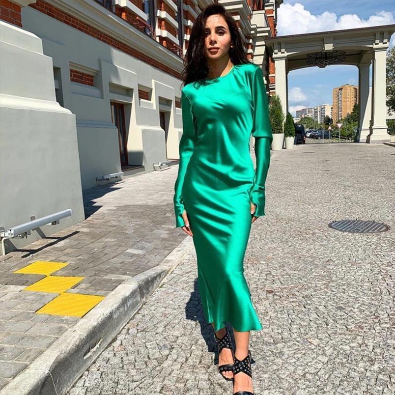 Kadınlar Seksi Saten Katı Renk Midi Elbise Bir Çizgi O Boyun Ruffles Parti Elbise Seksi Streetwear Zarif Delik Uzun Kollu Vintage
