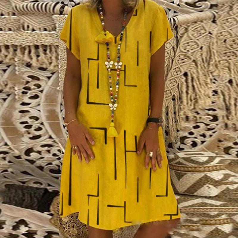 2020 de grande taille Mode Femme Print Robe à col en V imprimé Été Robes à manches courtes en vrac