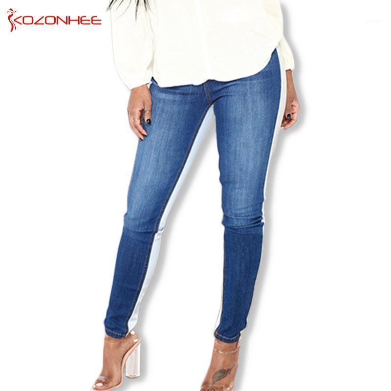 Costura de dos colores Bule Stretch Jeans Mujeres Moda High Wais Jeans Elasticity Skinny Lápiz Mujeres # 171