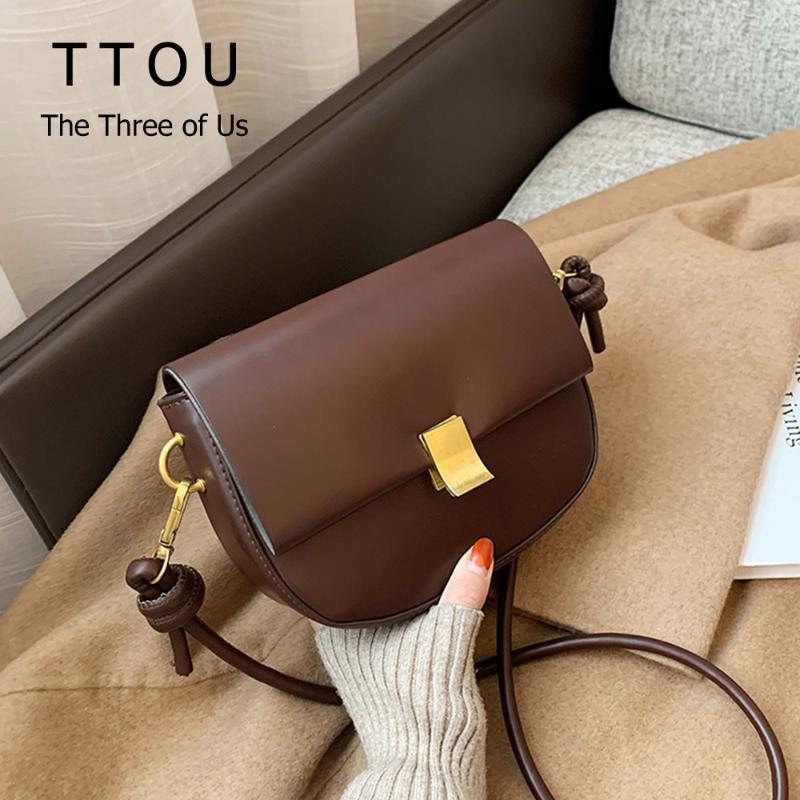 2021 New Fashion Basic Bag Pu Quality Handbag Office Style Colo Flap Crossbody Shoulder Solid Women Simply Lady Daily Saddle Sttlk