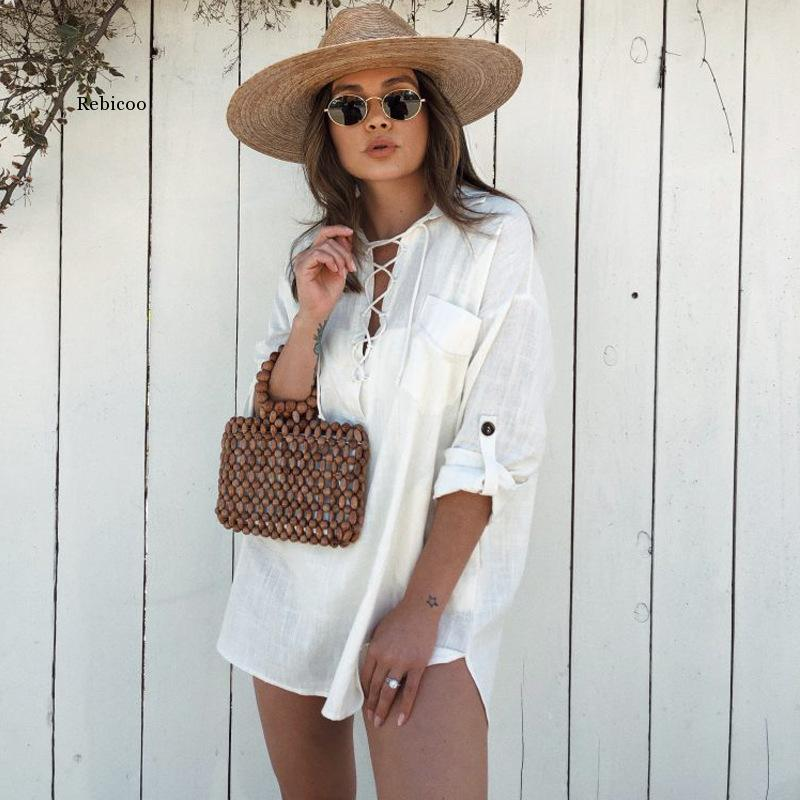 Women Long Sleeve White Cotton Linen Women Blouse Shirt Casual V Neck Lace Up Oversize Loose Blouses Large Size Top