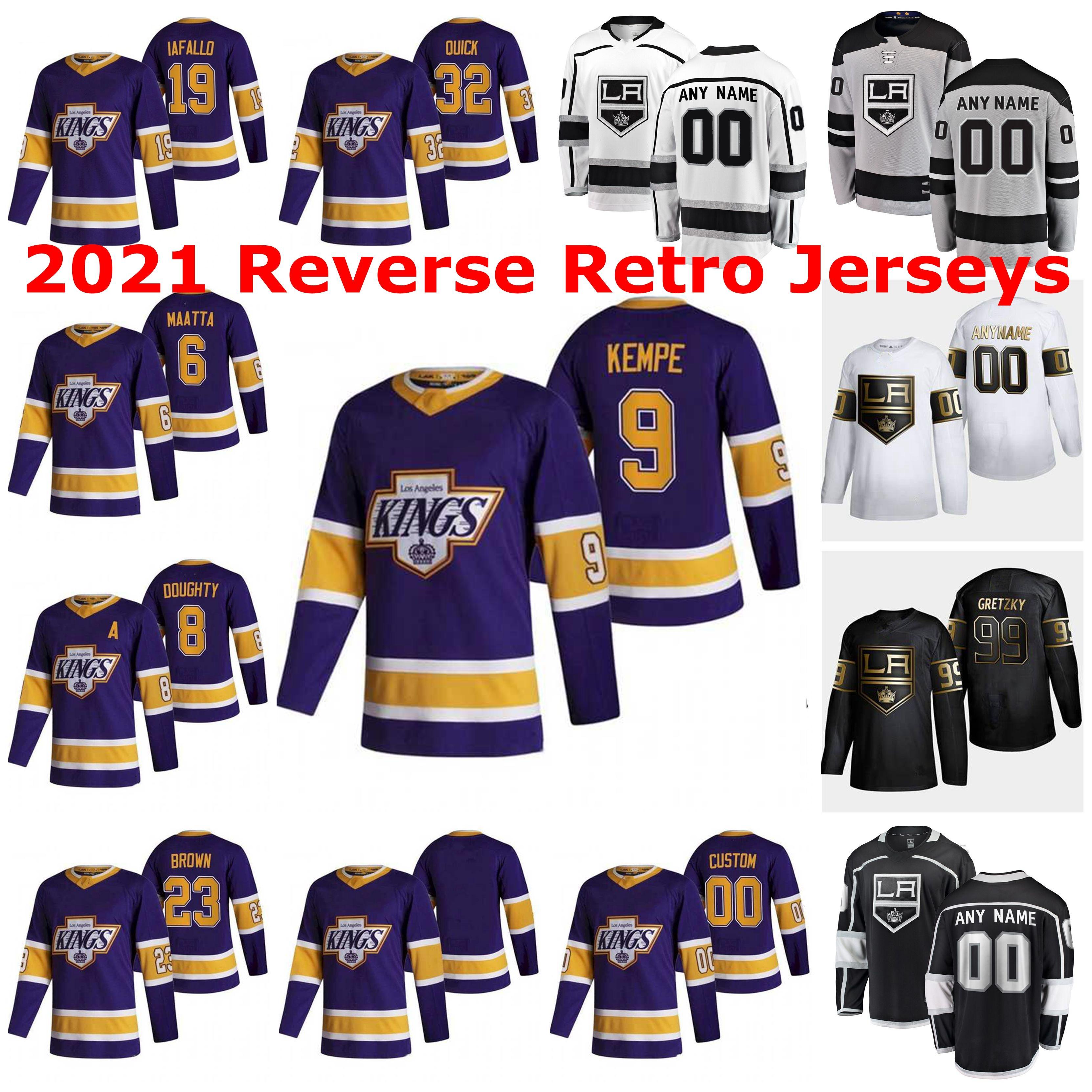 Los Angeles Kings 2021 Reverse Retro Jerseys Drew Doughty Jersey Michael Amadio Jeff Carter Kyle Clifford Alex Iafallo Custom Stitched